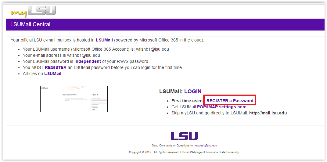 LSUMail Central Register Password