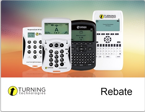 "Turning technologies clicker systems with ""Rebate"" shown at the bottom right"