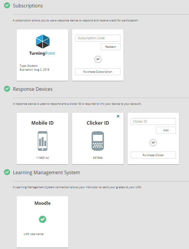 Three green checks, one next to each section: subscriptions, response devices, and learning management system