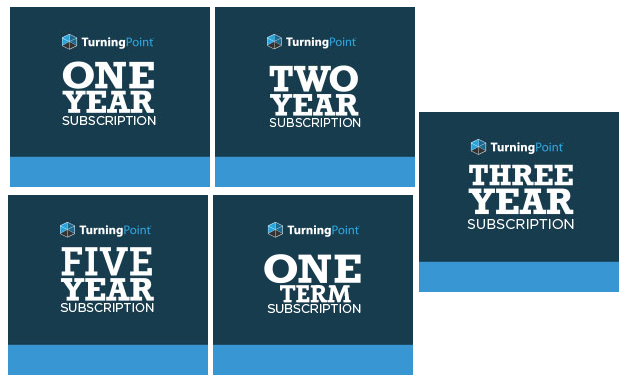 five turning point subscription options: 1, 2, 3, or 5 years, or 1 term