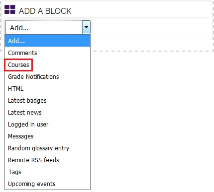 course block option highlighted
