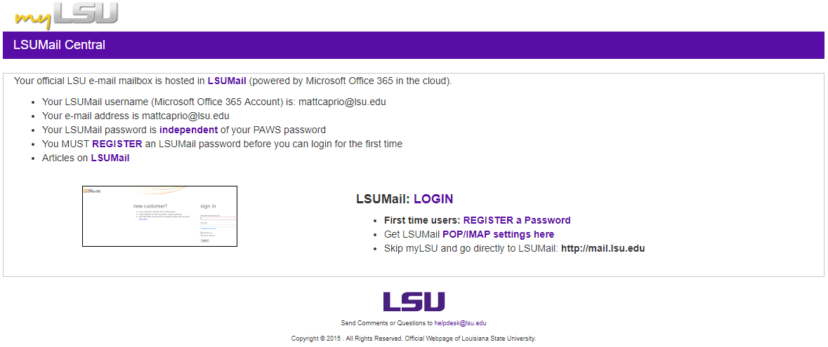 LSUMail Central page