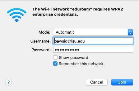 Wifi login on Mac OSX