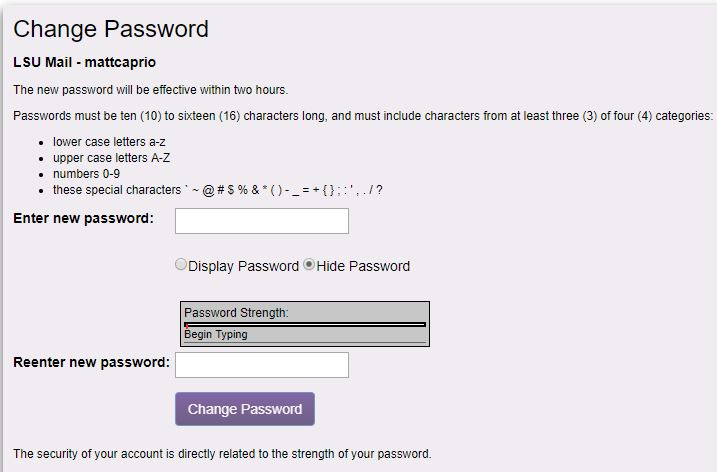 myLSU change password screen