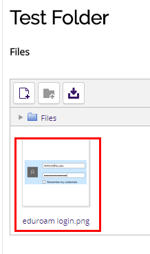 Upload button at top left, and a file highlighted in center window