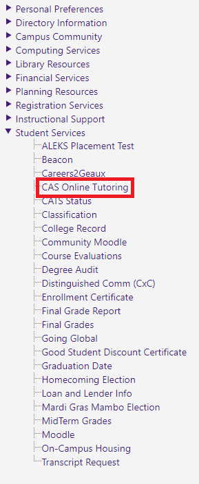 CAS Online Tutoring highlighted at the left hand side panel.