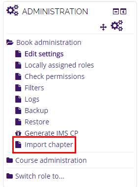Import chapter link in administration sidebar