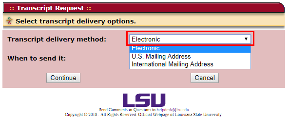 Delivery options dropdown menu showing electronic, U S address, and international address