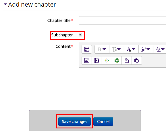 Entering sub chapter title and content, with subchapter checkbox just under the title box