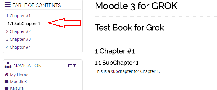 Sub chapter displayed with arrow pointing at its title in the table of contents