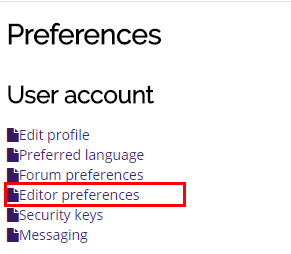 editor preferences link highlighted