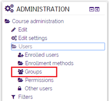 Group option in the User folder in the Administrator block