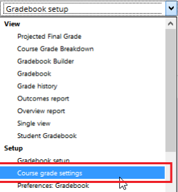 Course grade settings option in the Single view drop-down menu