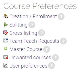 Course Preferences block with links