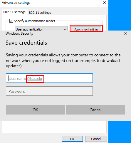 Entering credentials, with username including at L S U dot E D U, in the save credentials window