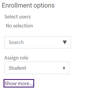 Enrollment Options Interface