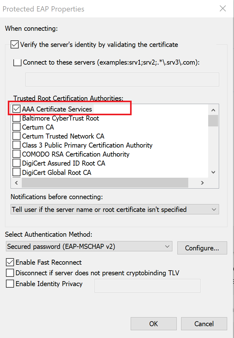 Settings window with aaa certificate selected