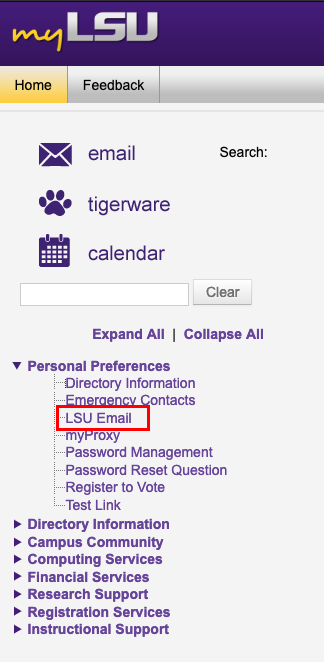 LSUmail link under personal preferences